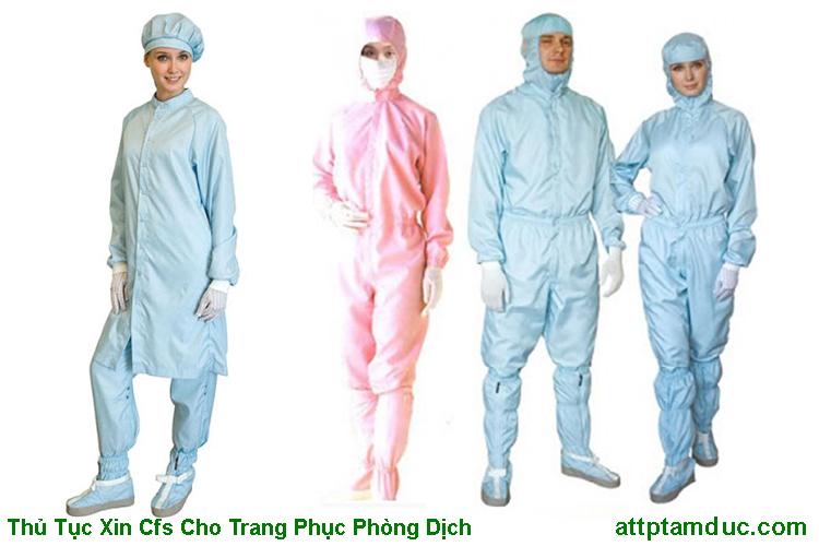 Giấy chứng nhận lưu hành tự do CFS cho trang phục y tế phòng dịch mới nhất